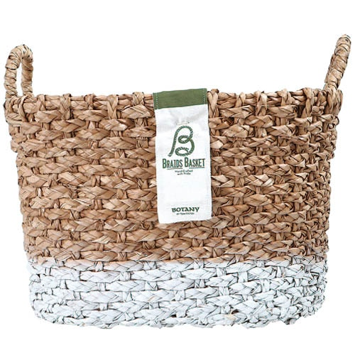 OVAL BRAIDS BASKET WHT-L