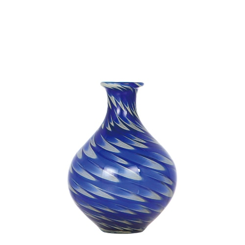 GLASS VASE PAVO S BLUE