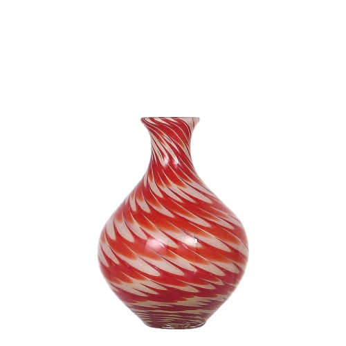 GLASS VASE PAVO S RED