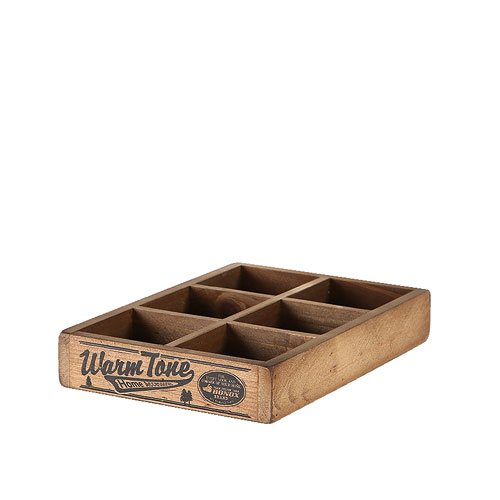 6 PARTITION WOODEN BOX