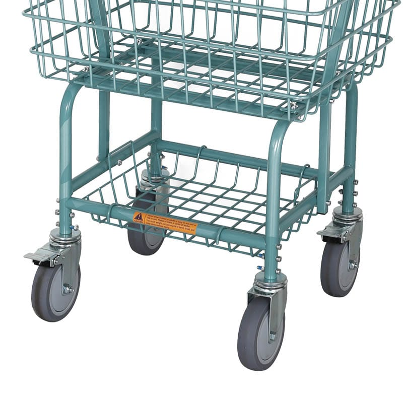 LAUNDRY CART WITH POLE RACK GRAY GREEN