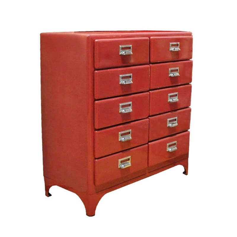 2 COLUMNS  BY 5 DRAWERS RED