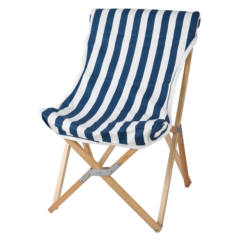 WOODEN BEACH CHAIR NAVY STRIPE