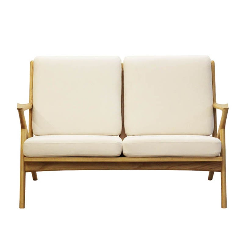 WOOD FRAME SOFA 2 SEATER CORN SILK
