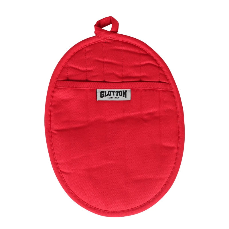 GLUTTON POT HOLDER RED