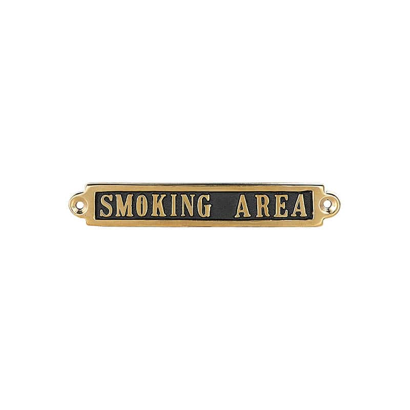 "BRASS SIGN  ""SMOKING AREA"""