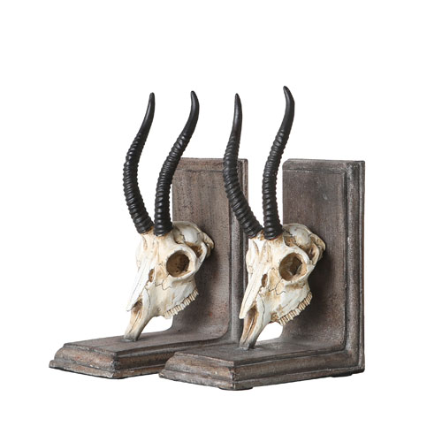 BOOKENDS SKULL HEAD -A