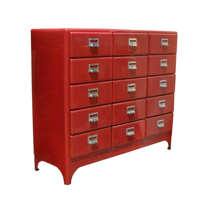 3 COLUMNS 5 DRAWERS RED