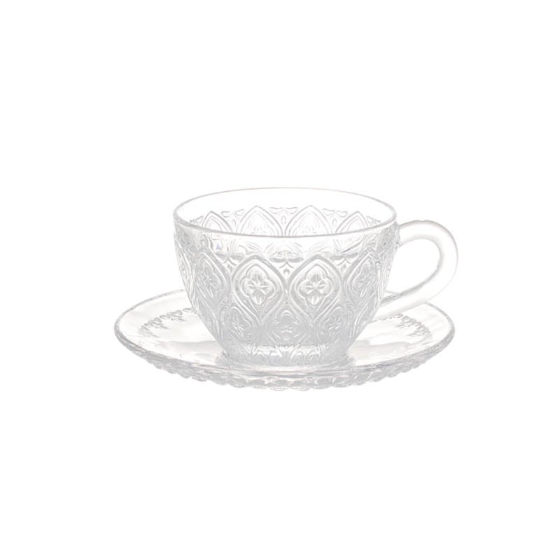 GLASS CUP & SAUCER ''FIORE'' CLEAR