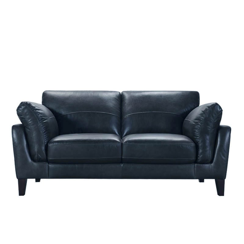 LEATHER SOFA 2 SEATER FRENCH NAVY