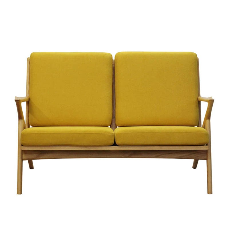 WOOD FRAME SOFA 2 SEATER MUSTARD