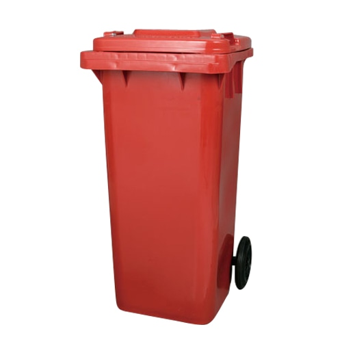 PLASTIC TRASH CAN 120L RED