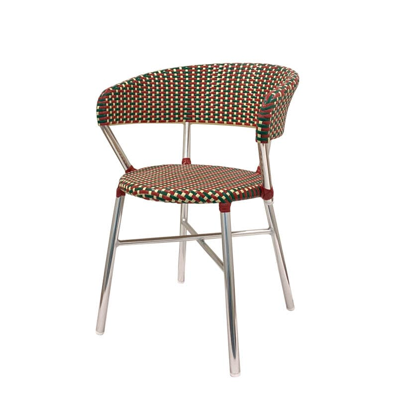 ALUMINUM ROUNDISH CHAIR RED/GREEN