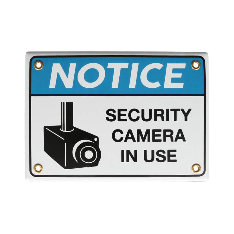 ENAMELED NOTICE SIGN SECURITY CAMERA