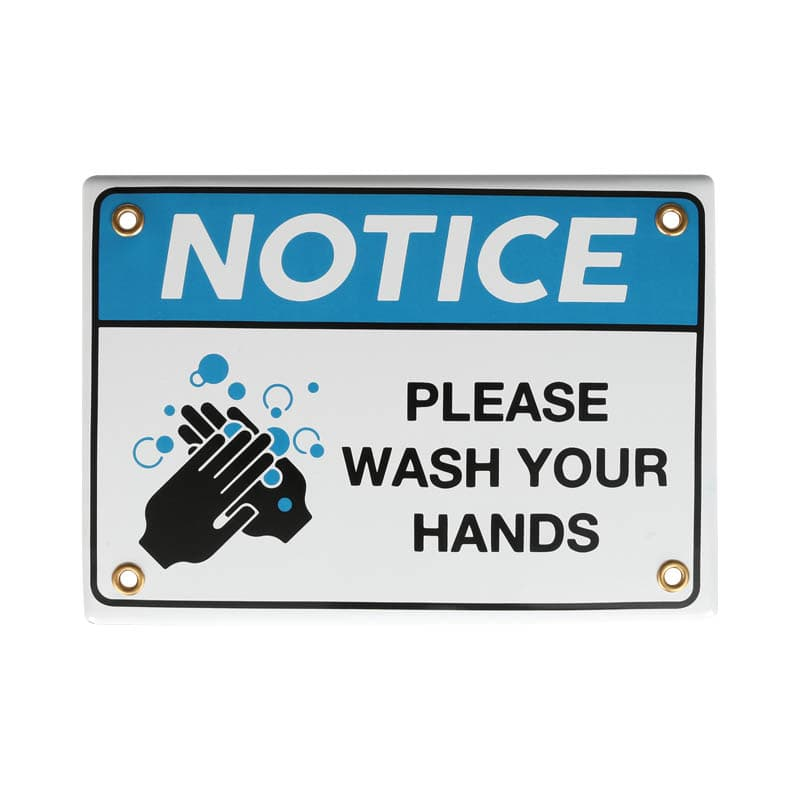 ENAMELED NOTICE SIGN WASH YOUR HANDS