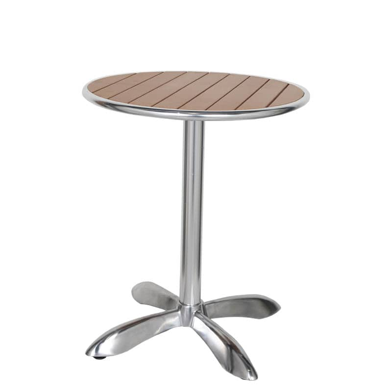 ALUMINUM CAFE TABLE RND LBR