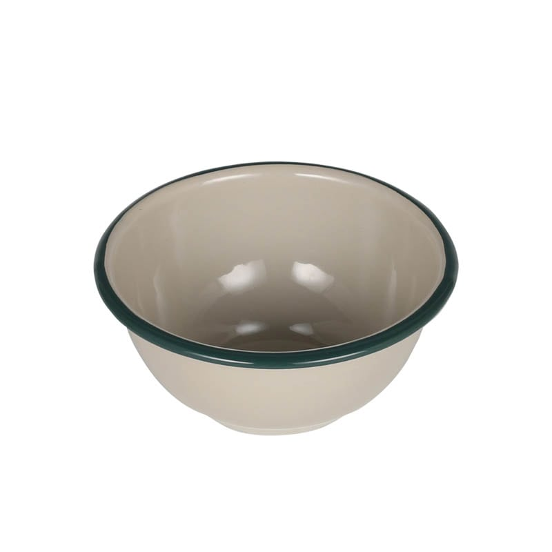 ENAMELED BOWL BEIGE/GREEN