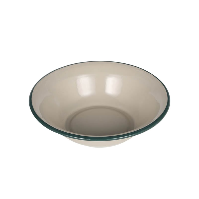 ENAMELED DEEP PLATE BEIGE/GREEN