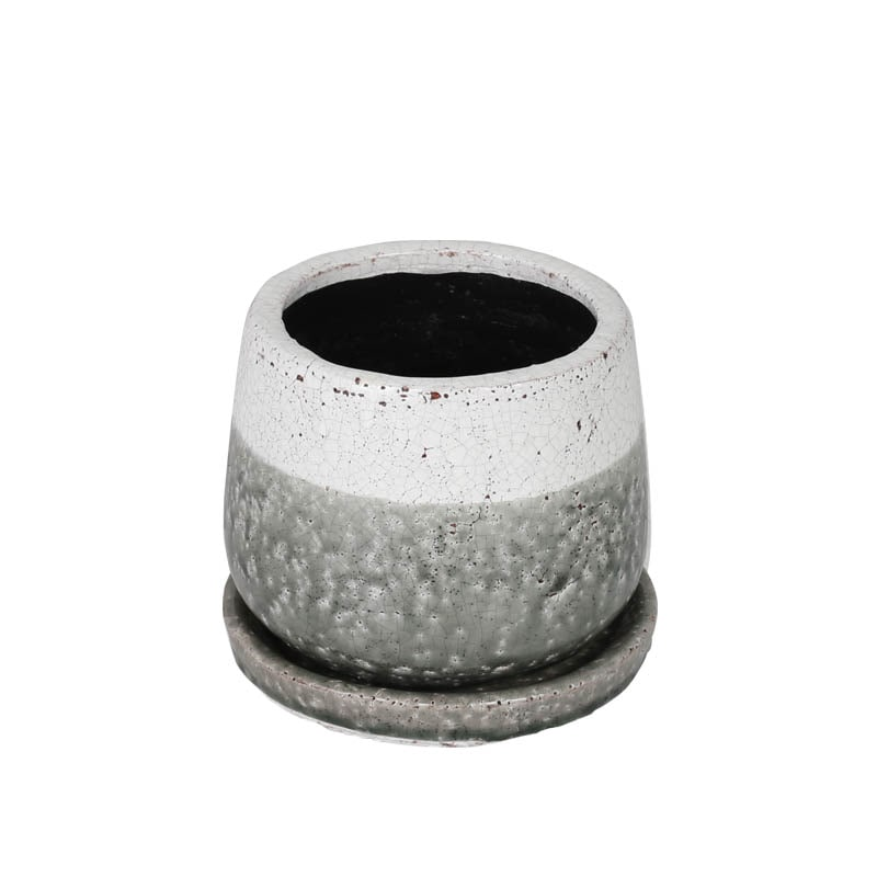 GLAZED POT ROUND GREENISH GRAY S