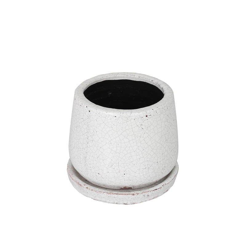 GLAZED POT ROUND WHITE XS