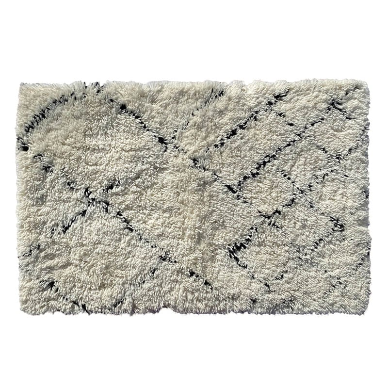 HAZY LATTICE WOOL MAT 600x900 NATURAL×BLACK