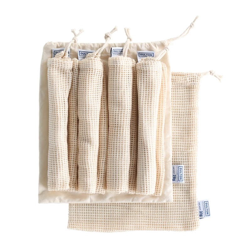 5 COTTON MESH BAGS WITH  POUCH