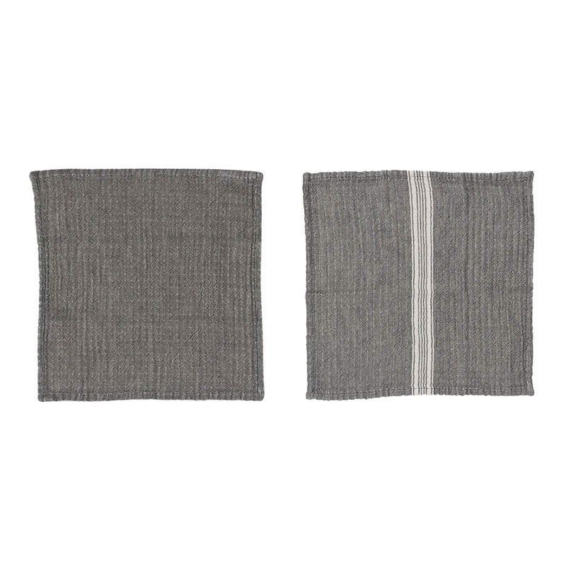 DOUBLE GAUZE COTTON S/2 DISH CLOTH GRAY